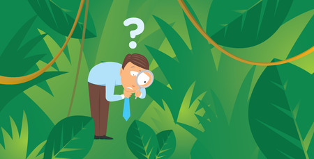 Cartoon illustration of lost businessman following a trail in the jungle searching for emerging market Vector
