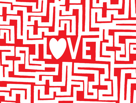 complex: Cartoon illustration of a complex maze to find the way into love Illustration