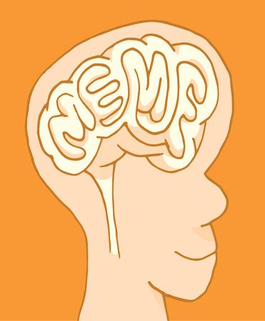 branded: Cartoon illustration of meme word branded in human brain or mind