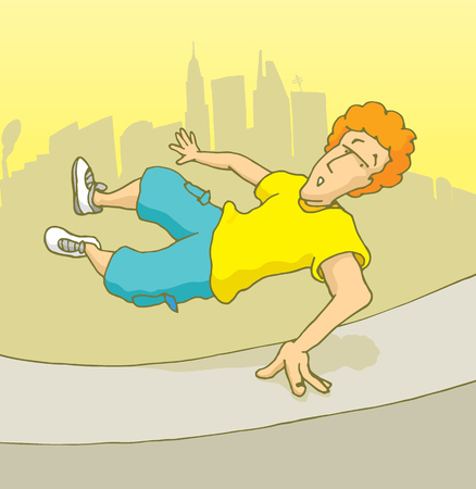 mid air: Cartoon illustration of man jumping over a wall doing parkour or freerunning