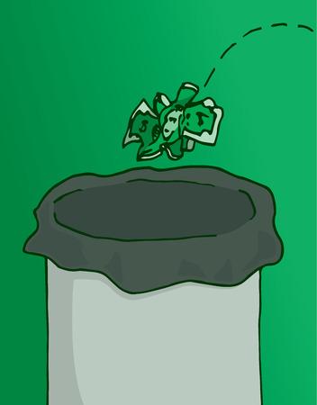 garbage bin: Cartoon illustration of dollar bill or obsolete currency thrown as garbage bin waste