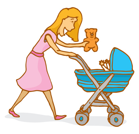 baby playing toy: Cartoon illustration of a mother playing with baby on a stroller Illustration