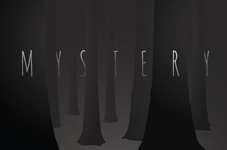 suspenso: Ilustración de dibujos animados de misterio palabra fusión de árboles de más de maderas oscuras