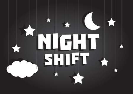night shift: Cartoon illustration sign of Night shift hanging with stars and moon sky