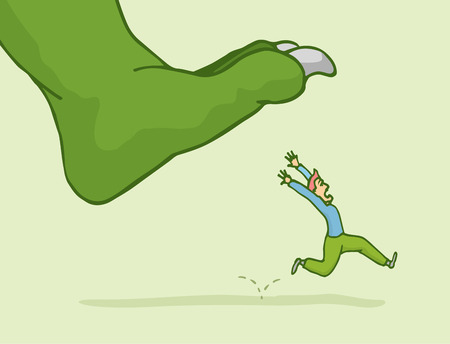 Cartoon illustration of man in panic fleeing from giant monster step