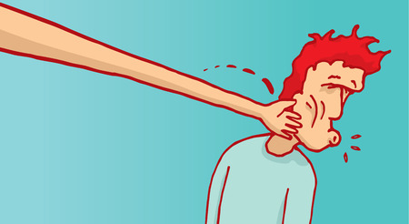 Cartoon illustration of bizarre long arm slapping face