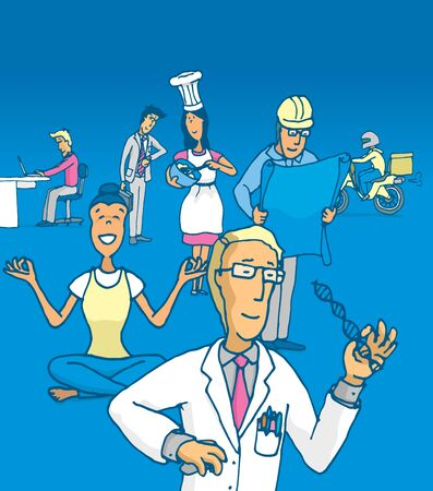 different jobs: Cartoon illustration of people working at different jobs and professions Illustration