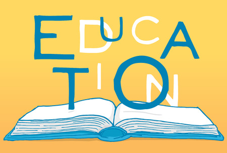 content writing: Cartoon illustration of education word over an open book
