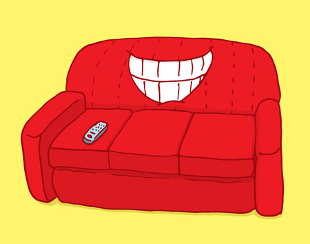 couch potato: Cartoon illustration of a couch with big grin Illustration