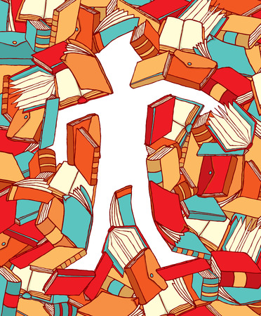 literate: Cartoon illustration of man education defined by color books Illustration