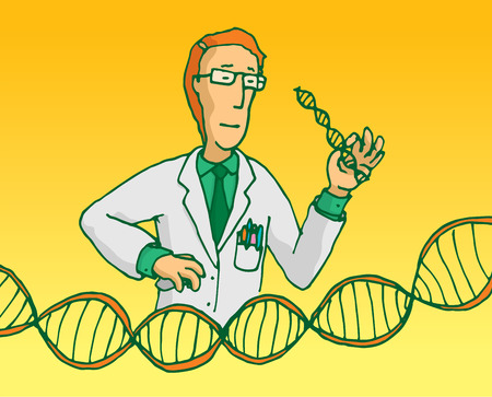 Cartoon illustration of scientist researching genes or manipulating dna sequence