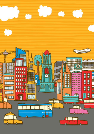 copyspace: Cartoon illustration of a busy colorful city with cars buildings and copyspace