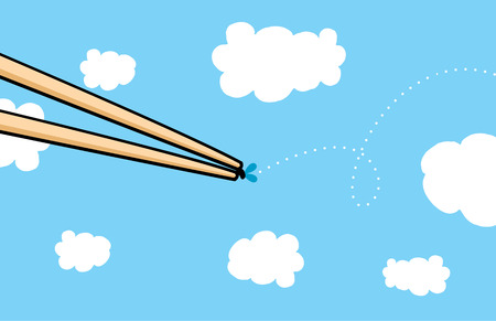 successfully: Cartoon illustration of two quick chopsticks successfully catching a fly