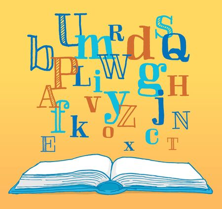 content writing: Cartoon illustration of different letters floating from a book