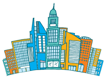 downtown district: Cartoon illustration of different buildings together on busy district