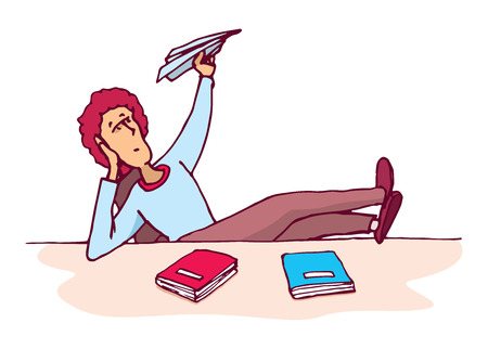 Cartoon illustration of an unmotivated and distracted student throwing a paper plane Vectores