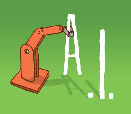 robot arm: Cartoon illustration of robot arm setting artificial intelligence acronym
