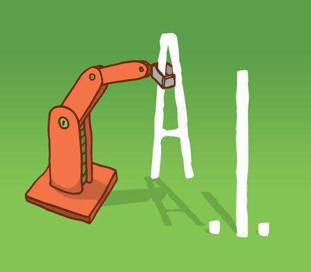 artificial intelligence: Cartoon illustration of robot arm setting artificial intelligence acronym