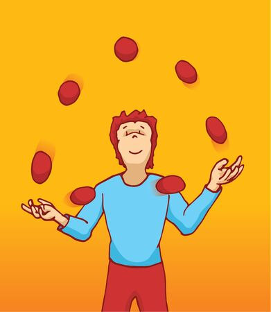 Cartoon illustration of a juggler handling many balls in the air