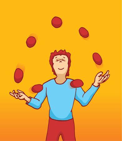 Cartoon illustration of a juggler handling many balls in the air