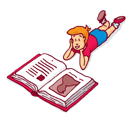 interested: Cartoon illustration of interested child reading a big book Illustration