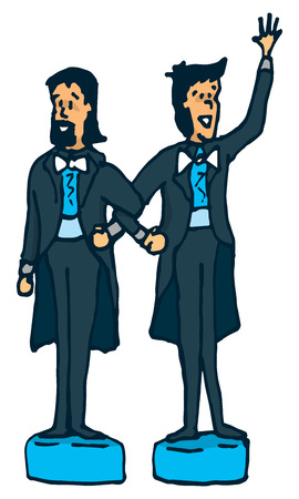 gay couple: Cartoon illustration of gay couple of male cake toppers
