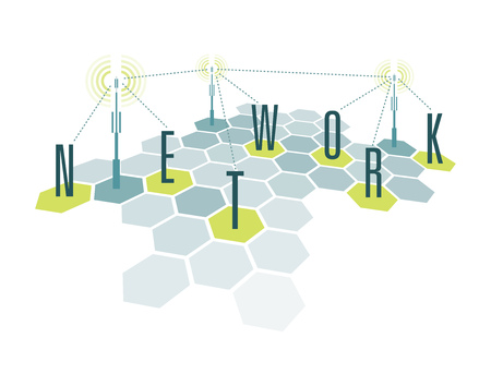 communications tower: Cartoon illustration diagram of communication network technology