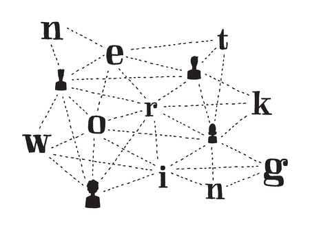 acquaintance: Cartoon illustration of people connecting and networking words