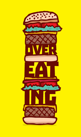 overeating: Cartoon illustration of huge cheeseburger with overeating word