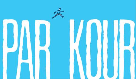 parkour: Cartoon illustration of man jumping over gap of parkour word Illustration