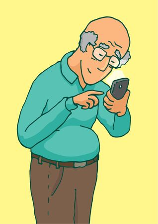 old cell phone: Cartoon illustration of an active senior using his smartphone with touchscreen