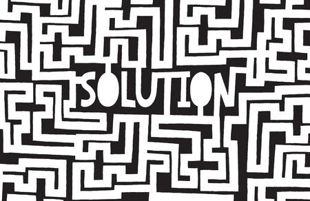 the maze: Ilustraci�n de dibujos animados de complejo laberinto para encontrar una soluci�n Vectores