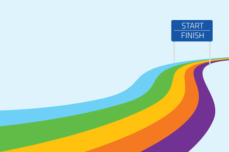concept: Cartoon illustration of a start and finish line with colorful path