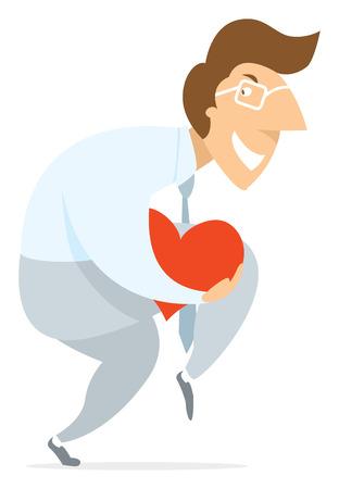 agachado: Ilustraci�n de dibujos animados de la extremidad del hombre caminar de puntillas robar el coraz�n o el amor