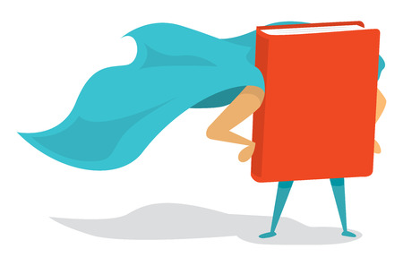 Cartoon illustration of a book super hero with cape