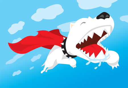 super dog: Cartoon illustration of a super hero dog flying over the sky