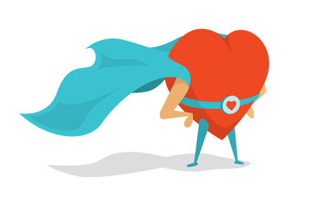 love concepts: Cartoon illustration of a love super hero heart wearing cape