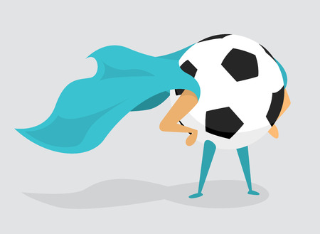 Cartoon illustration of soccer ball with cape as super hero