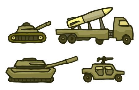 armored truck: Cartoon illustration of military green war vehicle set Illustration