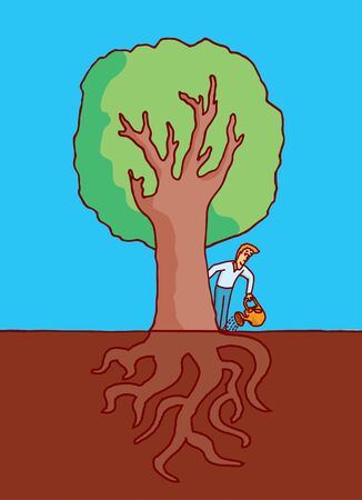 under ground: Cartoon illustration of man watering a big tree with roots under ground