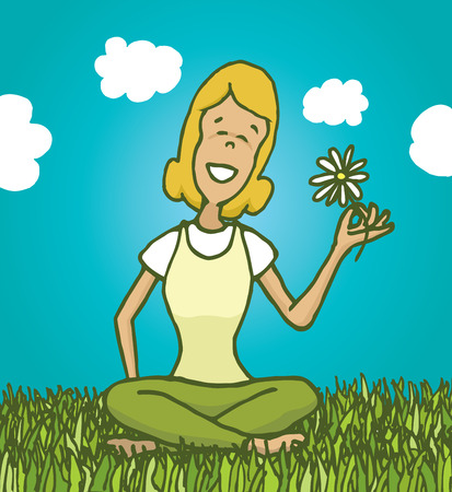 relaxed: Cartoon illustration of relaxed woman enjoying nature and holding a flower Illustration