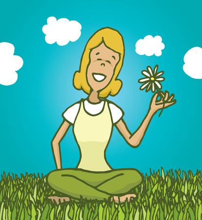 relajado: Ilustraci�n de dibujos animados de la mujer relajada disfrutando de la naturaleza y la celebraci�n de una flor Vectores