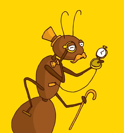 antiques: Cartoon illustration of classy ant expert in antiques
