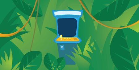 arcade: Cartoon illustration of lost arcade machine game hiding in the jungle Illustration