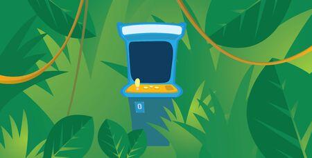inmersion: Ilustraci�n de dibujos animados de la p�rdida de juego de la m�quina de juegos electr�nicos escondidos en la selva