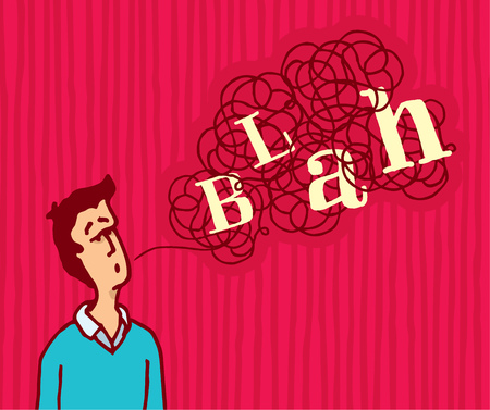 liar: Cartoon illustration of man saying a tangled blah word