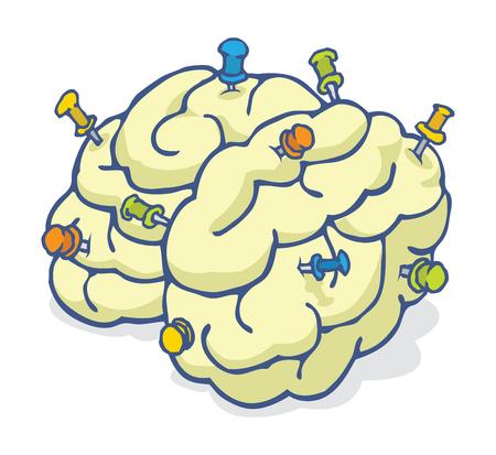 brain illustration: Cartoon illustration of colorful reminder pins nailed into brain