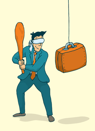 ojos vendados: Ilustraci�n de dibujos animados de hombre de negocios con los ojos vendados lista para atacar una pi�ata cartera