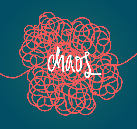 mess: Handwritten illustration of chaos over tangled handwritten mess scribble or doodle