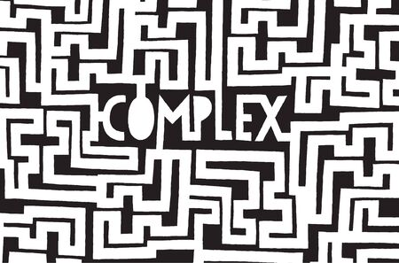 Cartoon illustration of complex word inside a chaotic maze